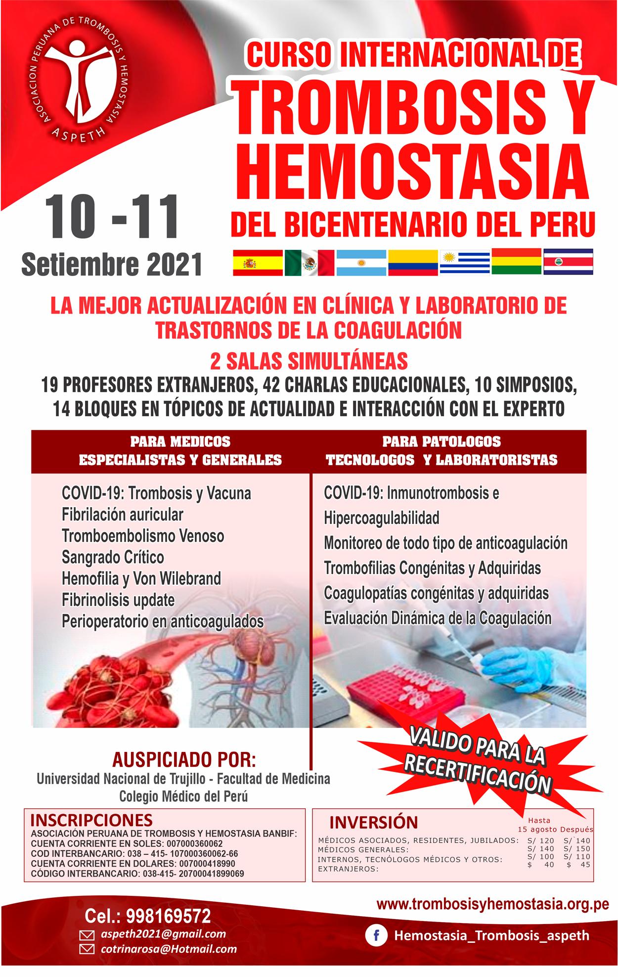 Curso Internacional de Trombosis y Hemostasia del Bicentenario del Peru