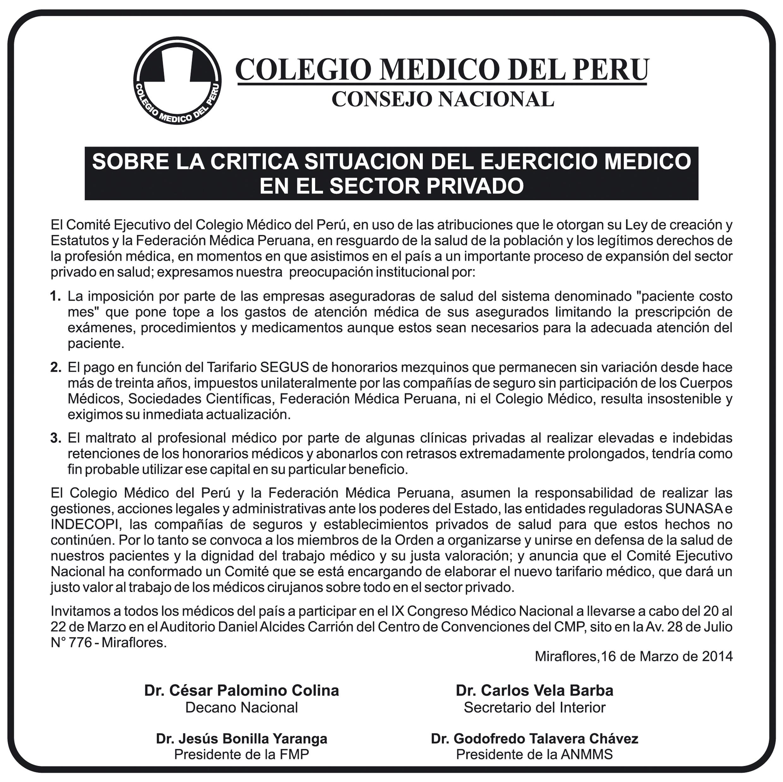 Critica situacion del ejercicio médico en el sector privado en el Perú